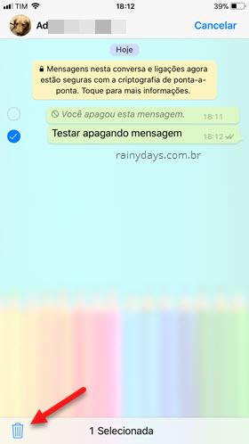 ícone da lixeira apagar mensagem WhatsApp iOS