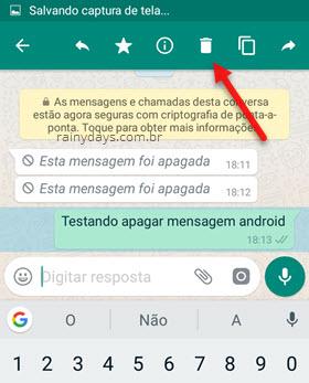 ícone da lixeira para apagar mensagem enviada WhatsApp