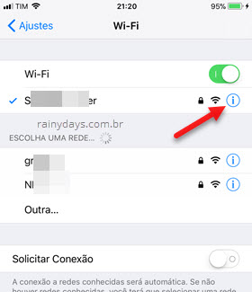 Informações conexão Wi-Fi iPhone