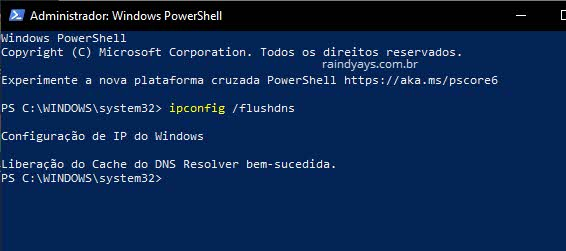 Limpar cache DNS pelo PowerShell Windows flushdns