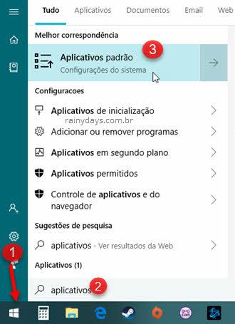 menu iniciar aplicativos padrão Windows 10