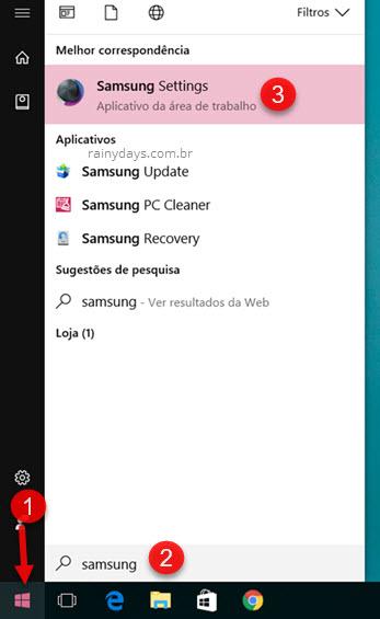 Samsung Settings configurações notebook