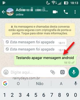 selecionar mensagem no WhatsApp para apagar