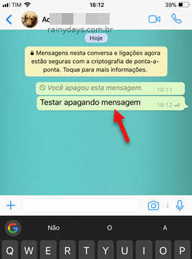 selecionar mensagem apagar no WhatsApp iPhone
