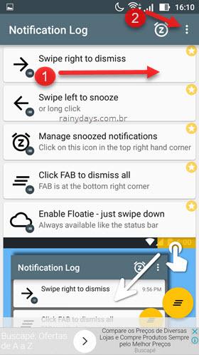 Apagar notificações app Notify Free Android