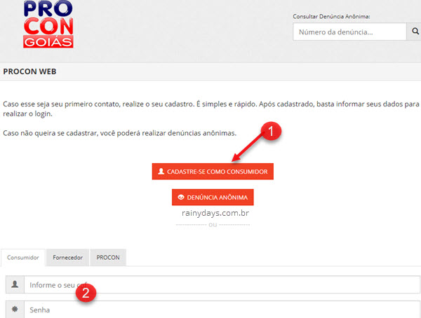 Cadastrar Procon Web Estado Goiás