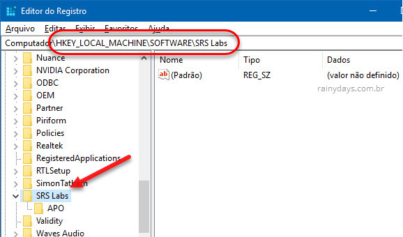 Chave SRS Labs APO Realtek Audio Windows registro