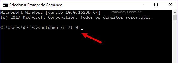 comando para desligar o windows sem restaurar apps