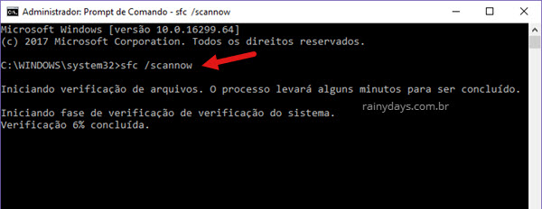 Comandos SFC para reparar arquivos do Windows 10