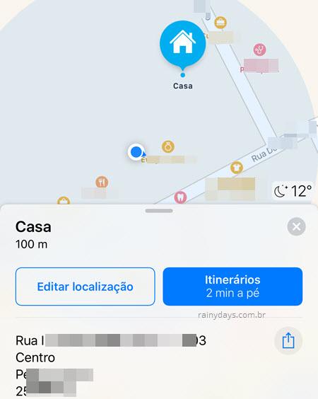 Como mudar endereço de casa no Apple Maps