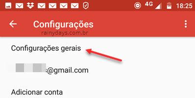 Configurações gerais app Gmail Android