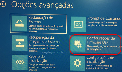Configurações firmware UEFI boot Windows