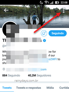 Denunciar conta do Twitter no Android