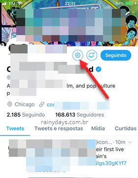 Denunciar conta do Twitter no iOS