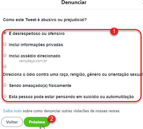 Denunciar conteúdo ofensivo ou comportamento abusivo no Twitter