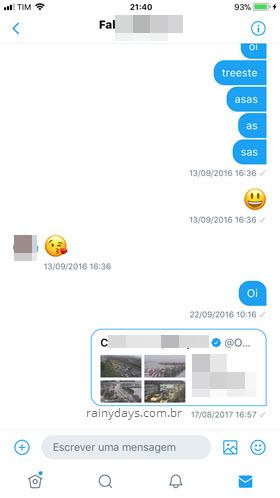 Denunciar mensagem dentro de conversa Twitter app