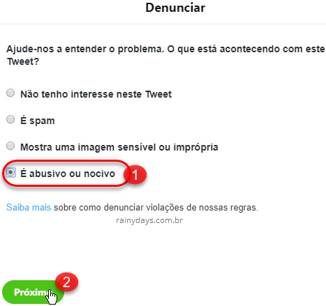 Denunciar tweet abusivo ou nocivo Twitter