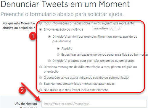 Denunciar tweet do Moment no Twitter
