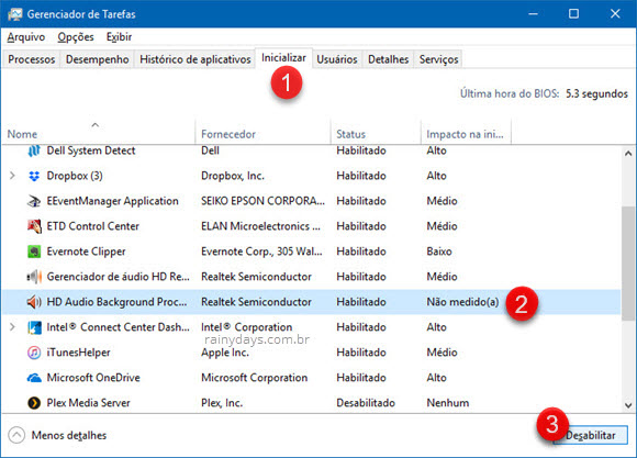 Desabilitar Realtek HD Audio do inicializar Windows