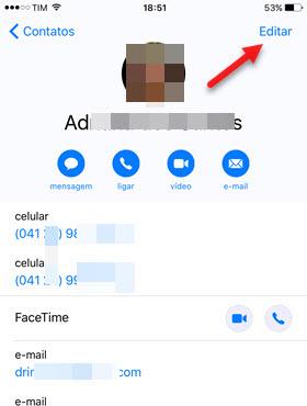 Editar Meu Cartão de contato no iPhone