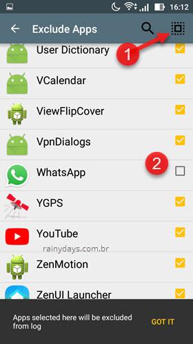 Excluir apps do histórico de notificação app Notif Android