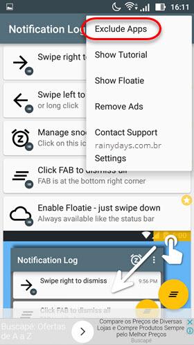 Excluir apps do histórico de notificação Notif Free Android