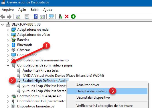 Habilitar Realtek High Definition Audio Gerenciador Dispositivos Windows