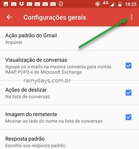 ícone de três bolinhas configurações gerais Gmail Android