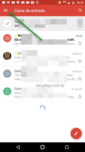 ícone três traços app Gmail Android