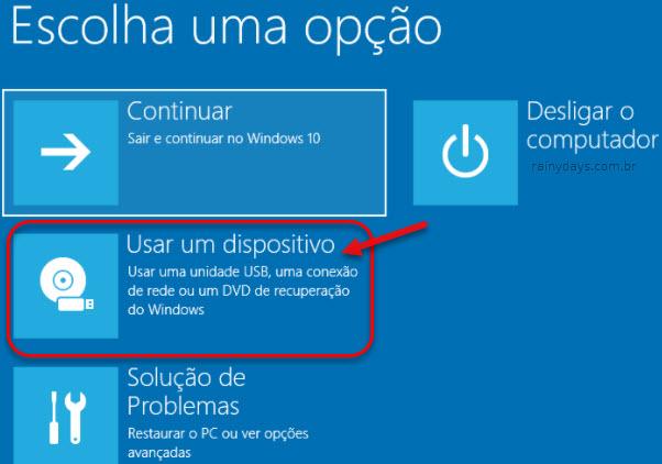 Inicialização avançada Usar um Dispositivo Windows