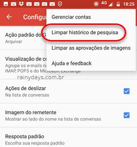 limpar histórico de pesquisa app Gmail Android