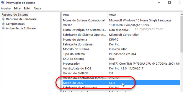 modo da BIOS UEFI Windows