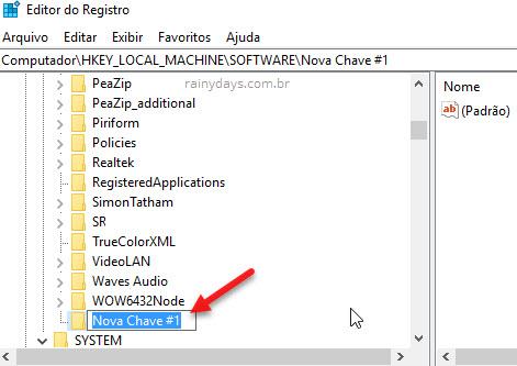 Nomear nova chave Editor do Registro Windows