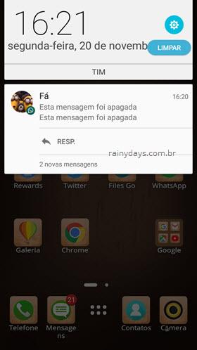 Notificação esta mensagem foi apagada WhatsApp