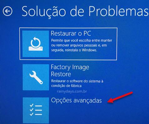 Opções avançadas Soluções de Problemas Windows