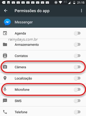 Permissões Câmera Microfone Messenger Android