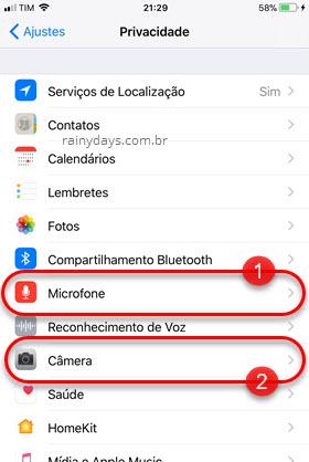 Privacidade Microfone Câmera iPhone