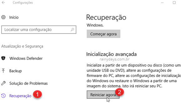 Recuperação Inicialização Avançada Reiniciar Windows