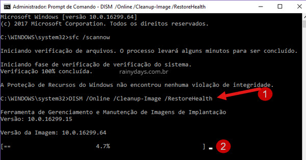 Rodar DISM Restorehealth para corrigir erros Windows