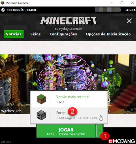 selecionando Forge no Minecraft