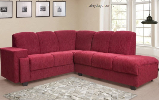 Sofá de canto 5 lugares vermelho