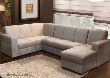 Sofá de canto com 5 lugares chaise suede