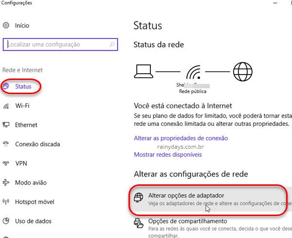 Status Alterar opções de adaptador Windows 10