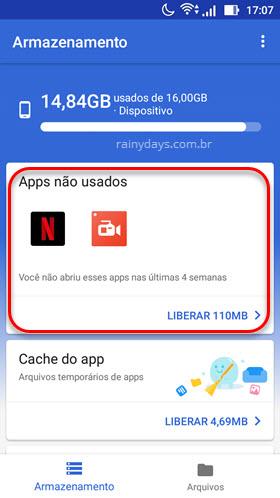 Apps não usados Files GO Google Android