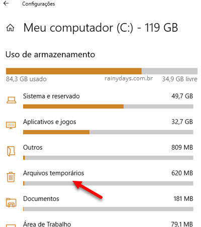 Apagar arquivos temporários de cada HD no Windows 10, dentro das configurações de armazenamento