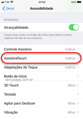 Assistive Touch Acessibilidade do iPhone
