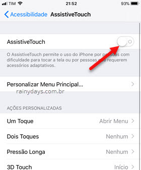 Ativar AssistiveTouch iPhone