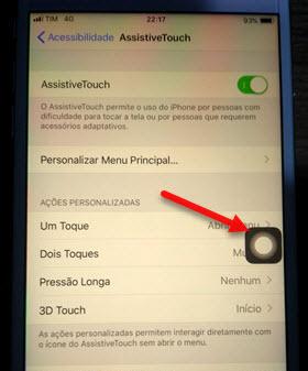 botão AssistiveTouch iPhone