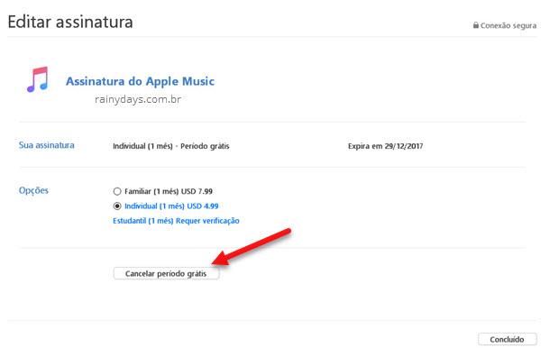 Cancelar período grátis Assinatura Apple Music