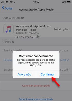 Confirmar cancelamento Assinatura Apple Music iOS